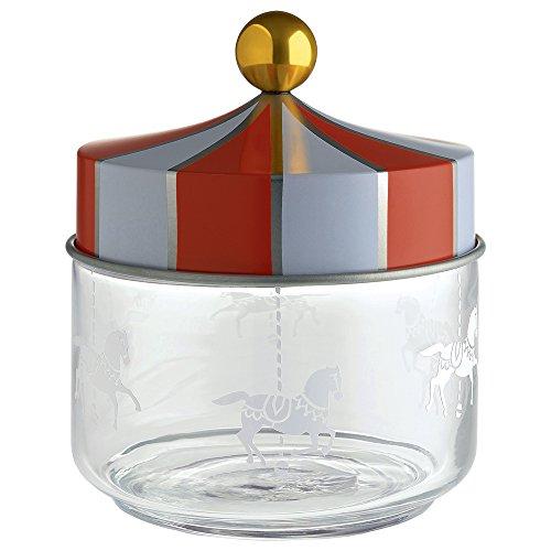 Alessi Mw30/50 Circus Pot Hermétique en Verre Sérigraphié avec Couvercle en Fer Blanc, 50 Cl
