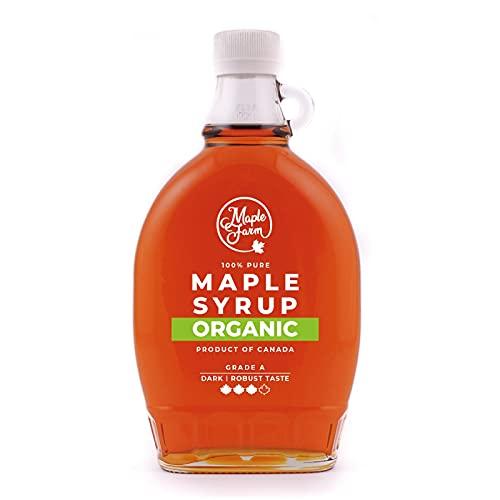 Jarabe de arce BIO - Grado A (Dark, Robust taste) - 500 ml (660 g) - Miel de arce biológico - Sirope de arce - Organic maple syrup