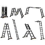 Teleskopleitern Verlängerungsleiter aus schwarzem Aluminium, hochstehende Leitern Tragbar...