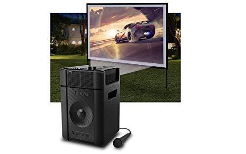 """Ion Projector Plus Bluetooth 30-150"""" Battery Indoor-Outdoor-Karaoke-Speaker HDMI (Renewed)"""