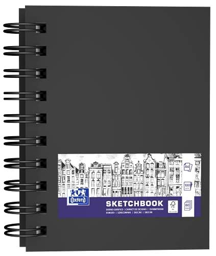 OXFORD Cuaderno para esquís (A6, tapa dura, doble espiral, 80 hojas, 100 g, 5 unidades), color negro