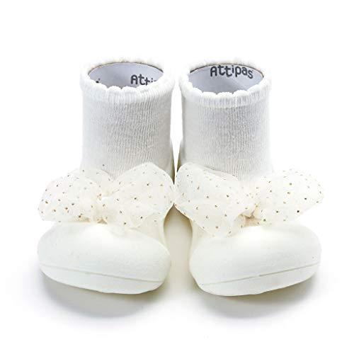 [Attipas] アティパス ベビーシューズュ [ロイヤル] 洗濯機 丸洗いOK 靴下セット かわいいベビーシューズ 滑り止め ラバー 出産祝い プレゼント あんよの練習 保育園靴 ソックスシューズ プレシューズ 室内履き 10.5-11.0 ホワイト