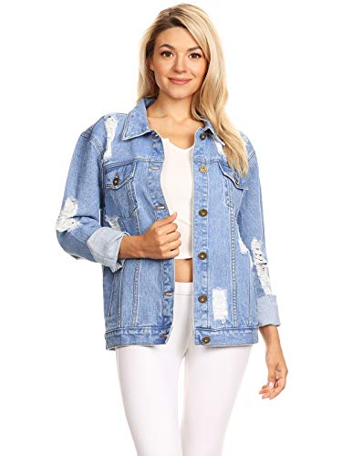 Womens Oversize Ripped Jean Blue Denim Jacket with Long Sleeve