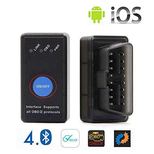 ELM327 diagnostisch gereedschap, multimerk, diagnoseapparaat voor de auto, ELM327 Bluetooth 4.0 met OBD2-schakelaar, houder voor Android, Apple, Mini OBD2 voor CAN-bus multifunctioneel merk