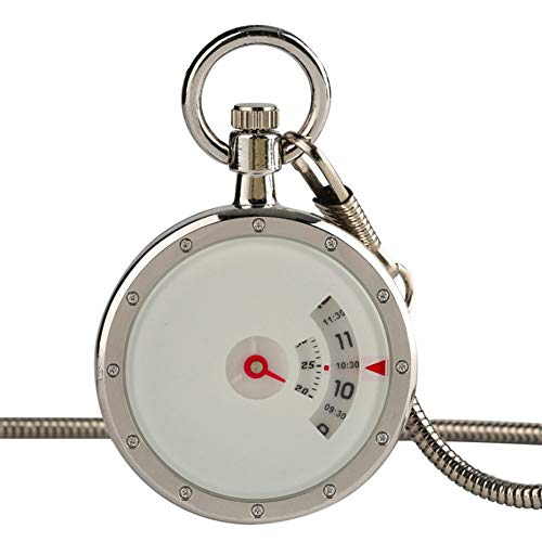 XVCHQIN Reloj de Bolsillo de Cuarzo Triangular Negro con Cadena de Cintura de Serpiente Relojes creativos Números para Hombre Lector de Tiempo Reloj Masculino de Moda Regalos, Blanco
