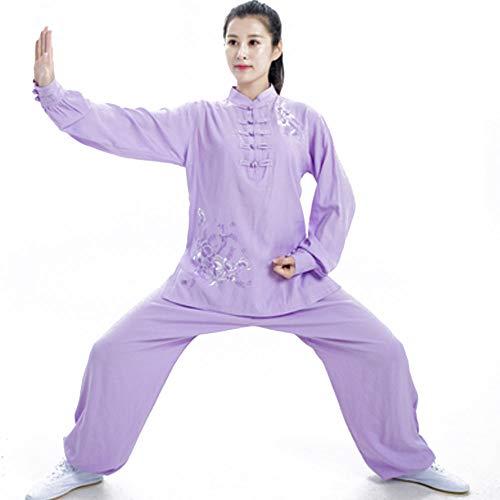 QIQI Yoga Tai Chi Uniform, Frau Traditionelles Kung Fu Kostüm Langarm Meditationstraining Stickerei,Lila,M