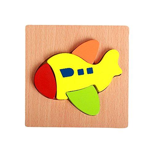 VANKER Enfants Dessin Animé Animal Design Couleurs Bloc en Bois Puzzle Jeu Jouet éducatif Avion