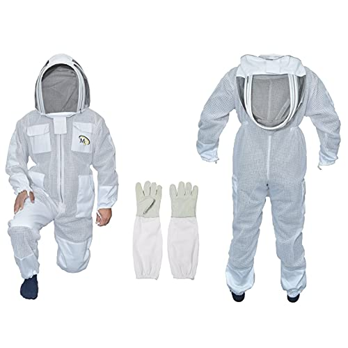 MS Professional 3 Layer Bee Suit Apiarist Ventilated Beekeeper Protective Suit with One Pair Gloves Apiary Beekeeping Suit Bee Sting Proof Suit with Fencing Veil (XXX-Large, White)