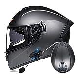 Casco Bluetooth para motocicleta, casco modular con Bluetooth, casco delantero con doble visera antiempañamiento, aprobado por ECE/DOT (color: #3)