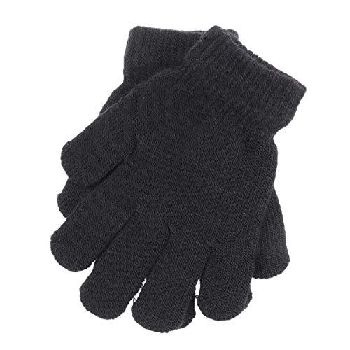 VORCOOL Kinderzauberhandschuhe Wintermodelle gestrickt Volltonfarbe fünf Finger warme Handschuhe 4-12 Jahre alt (schwarz)