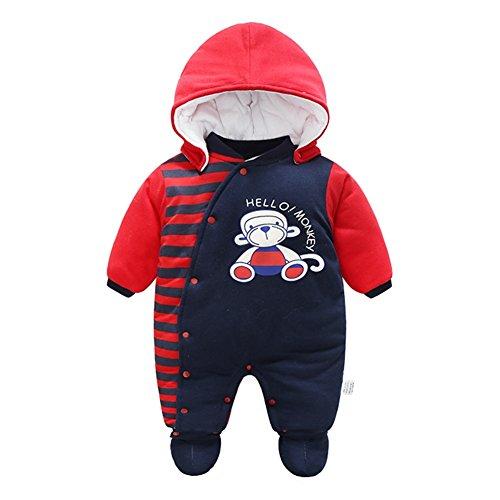 Bambino Pagliaccetto con Cappuccio Scarpe Tute da neve Caldo Jumpsuit Snowsuit Inverno Tutine Cartone Animato Abbigliamento Set