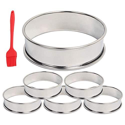 TaoToa Anillos para tartas de magdalenas, anillo de doble rollo para tartas de panecillos, moldes para pan corto, hojaldre y pastelería pequeño