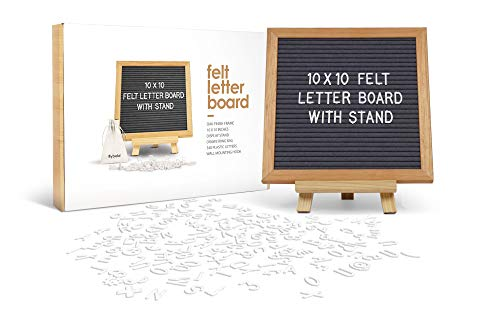 Felt Letter Board Message Board Baby Announcement Board Changeable Letter Boards with 340 Letters Numbers Sign Adjustable Tripod Stand Letterboard For Birth Announcement Small Word Board Grey 10x10
