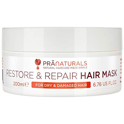 PraNaturals Maschera per capelli Restore & Repair 200ml - Balsamo per capelli senza silicone - Con burro di karitè per trasformare e rivitalizzare i capelli secchi e danneggiati