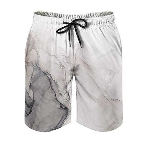 COMBON Shop Pantalones cortos mágicos para hombre, diseño de marmoles, con forro de malla