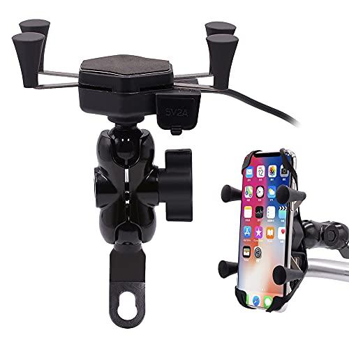 GOURIXIN Cargador de Montaje en teléfono para Motocicleta, Enchufe USB, Espejo retrovisor, Soporte para teléfono móvil, Cargador para vehículos, Compatible con teléfonos de 3,5 a 6 Pulgadas
