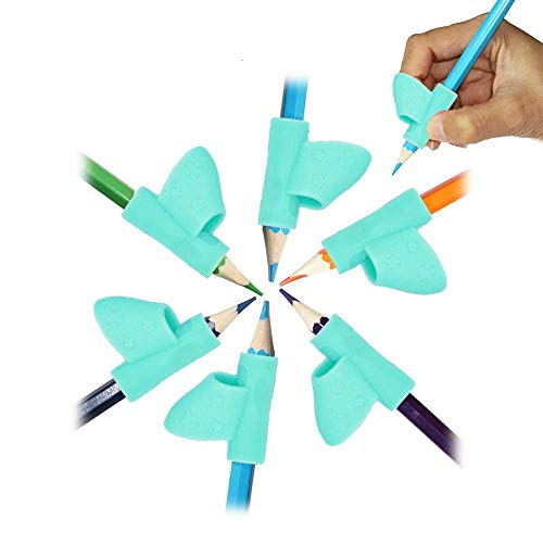 OKSANO 5 Pcs Grips Pencil and Pen Grip, Blue Pencil Grippers Writing Aid Posture Correction Tool, Pen Grips for Children, Lefty Training Rubber Pencil of Grips, Blue