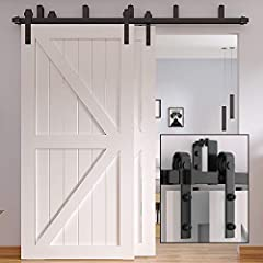 [HARDWARE MATERIAL] - WINSOON barn door hardware is made using premium carbon steel. High quality steel with frosted black surface makes it heavier than other sliding barn door hardwares amd fire proof, water proof and rust proof. It also allows you ...