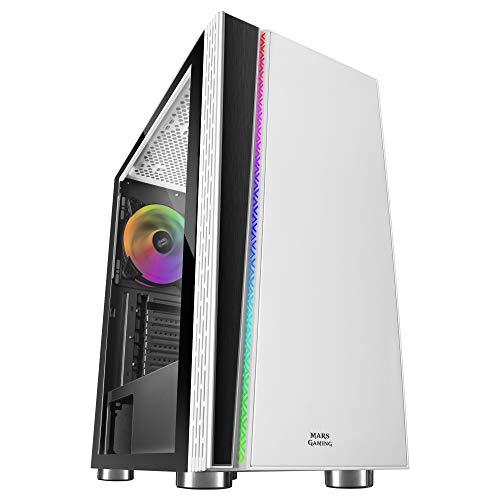 Mars Gaming MC8, Boîtier PC ATX, Ventilateur ARGB 120mm, Fenêtre Latérale, Blanc