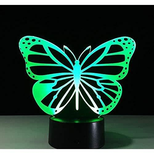 Lámpara 3D Ilusión óptica Led noche Luz Mariposa 3D Led Lámpara Led Luces de noche Usb Power Bank Lámpara de noche (negro)