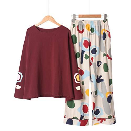 XFLOWR Lente en Herfst Dames pyjama Set Comfort Katoen Vrouwen Grote Maat Slaapmode Eenvoudige Stijl Ronde hals Femme Losse Huiskleding
