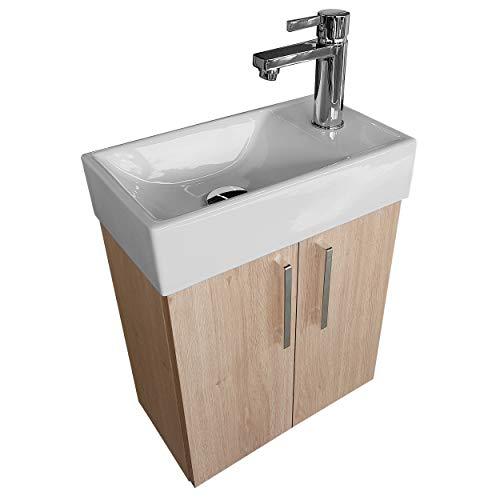 paplinskimoebel Waschplatz Waschbecken mit Unterschrank Badmöbel Set Waschtisch 40x22 Links/Rechts (Eiche Hell) Waschtischunterschrank Keramikwaschbecken