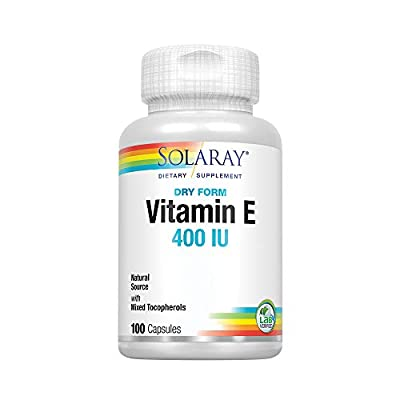 Solaray Vitamin E, Dry 400 IU w/Mixed Tocopherols   Non-Oily   Healthy Cardiac Function, Antioxidant Activity & Skin Health Support   100 Capsules