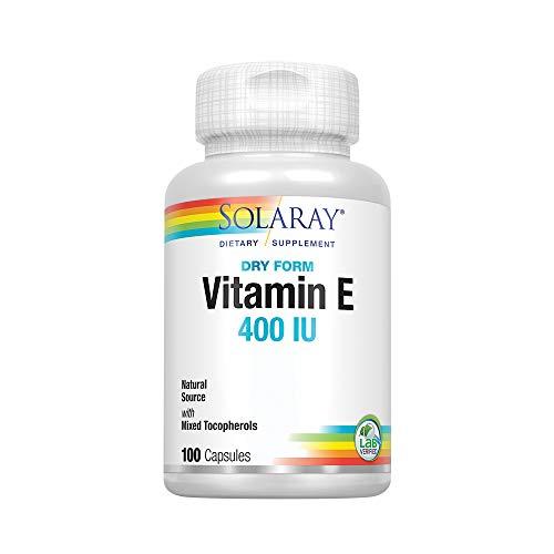 Solaray Vitamin E, Dry 400 IU w/Mixed Tocopherols | Non-Oily | Healthy Cardiac Function, Antioxidant Activity & Skin Health Support | 100 Capsules