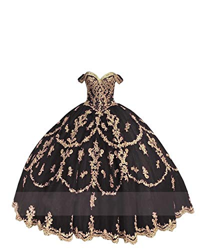 Cinderella Quinceanera Dresses Off The Shoulder Gold Appliqued Beads Tulle Wedding Dress Ball Gown Black 8 (Apparel)