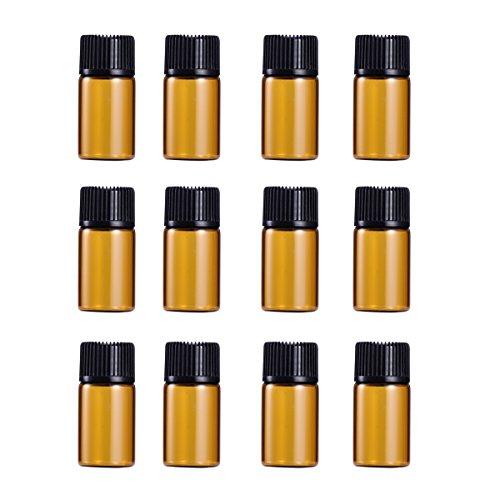 12 stuks mini-etherische oliën flessen bruine glas proefflessen voor DIY of reizen 3ml zoals getoond