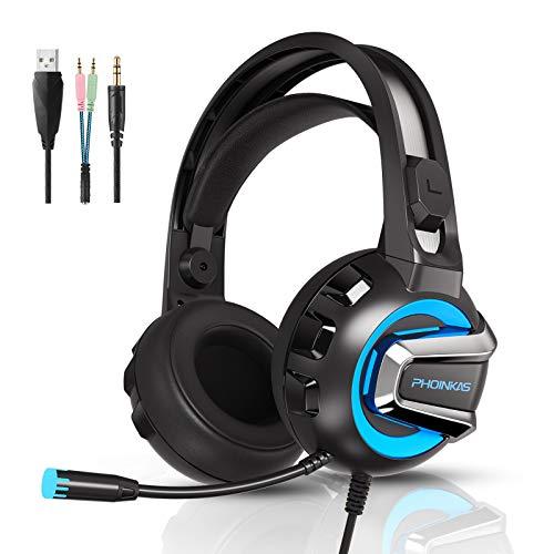 PS4 Gaming Headset für PS5 PC Nintendo Switch Xbox One, YOTMS H4 Wired Computer Gaming Kopfhörer mit Stereo Surround Sound, LED Licht mit einstellbarem Mikrofon für Laptop Mac Handy Tablet (Blau)
