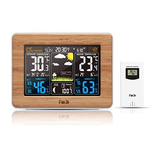 Farbbildschirm Wettervorhersage Uhr Bambus Electric Wave Clock FJ3365 -DCF UK (Holz)