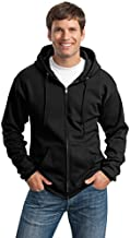 Port & Company Mens Ultimate Full-Zip Hooded Sweatshirt, Jet Black, Small