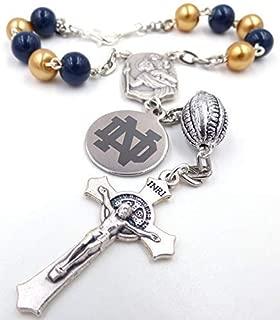 Single Decade St. Christopher Sports Team Auto Rosary - Notre Dame Fighting Irish NCAA Catholic Rosary Beads