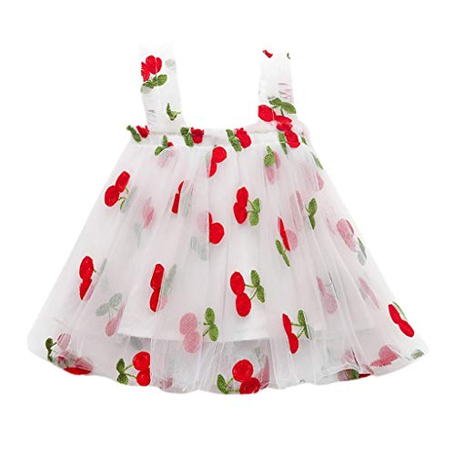 CUTUDE Girl's Mesh Suspender Skirt Fruit Print Gauze Straps Backless Dress Baby Embroidered Cute Sleeveless Playsuit (White, 6-12 Months)