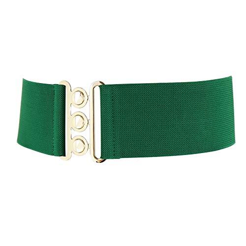 FASHIONGEN - Damen Breiter elastische gürtel, GLORIA, In Frankreich Hergestellt - Grün, Medium / 38 bis 41
