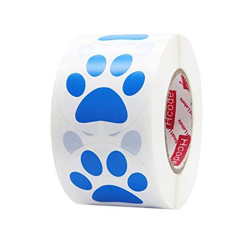 Hcode 1.5' Round Blue Bear Paw Print Stickers Dog Puppy Paw Stickers Bear Paw Stickers 500 Pieces per Roll (1 roll, Blue)