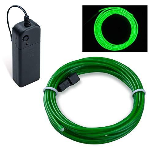 COVVY Cable LED Tira de Luces de Neon Flexible de Alimentado 3 Modos de Funcionamiento, Decoración de Coche, Fiestas, Disfraz de Carnaval (Verde esmeralda, 5M)
