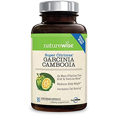 NatureWise Clinically Proven Super CitriMax Garcinia Cambogia with 4x Greater Fat Burning & Weight Loss Plus Appetite Control, 500 mg, 90 count