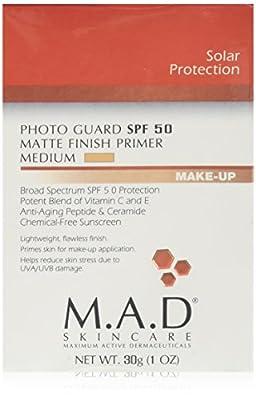 M.A.D SKINCARE SOLAR PROTECTION: Photo Guard SPF 50 Matte Finish Primer: Medium - 30g