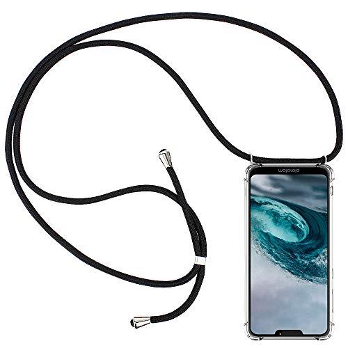 CLM-Tech Handykette kompatibel mit Motorola Moto G7 Power - Hülle mit Kordel zum Umhängen - Silikon Schutzhülle transparent mit Band Schnur, schwarz