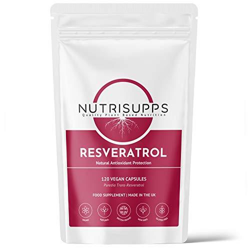 Resveratrol - 120 Capsules - Made with Puredia Trans-Resveratrol - Natural - Split Dosage - No Additives - Vegan - UK Made - GMP Standards - NutriSupps