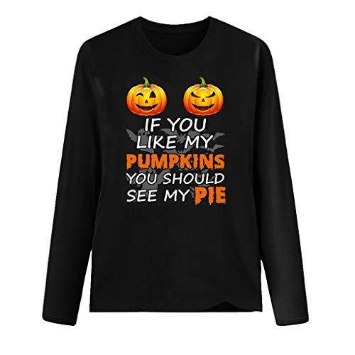 CHMORA Happy Halloween - Camiseta de manga larga para mujer con estampado de Halloween