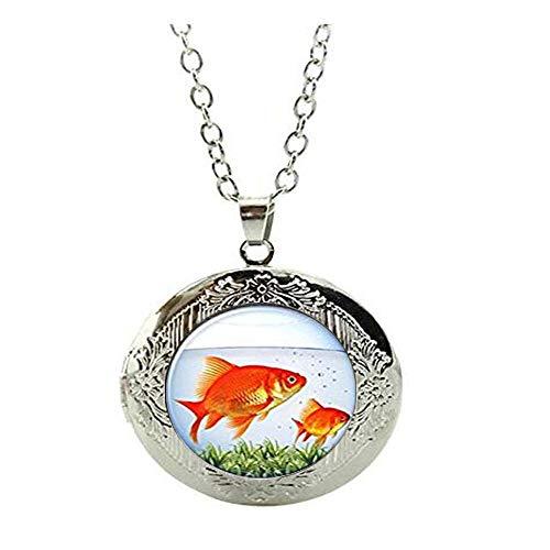 Collar de medallón rojo de pez dorado para mujer y hombre regalo