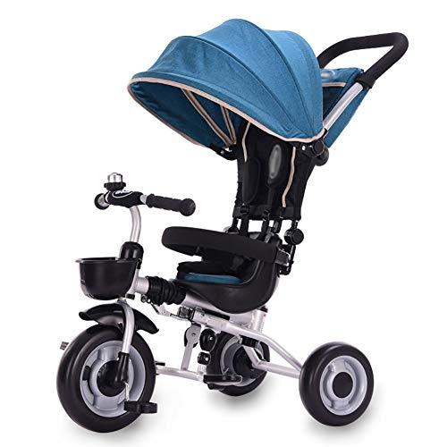 DBSCD Trikes für Kleinkinder, Kinder Kinder Dreirad Fahrrad Baby Tretauto Leichter Klappwagen 2-5 Jahre alt mit Dachfenster (Farbe: Blau)