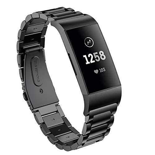 Supore Compatible con Fitbit Charge 3 Correa/Fitbit Charge 4 Correa, Correa de Ajustable Acero Inoxidable, Pulsera para Fitbit Charge3 / Charge 4 de Reemplazo Wristband Pulseras (Negro)
