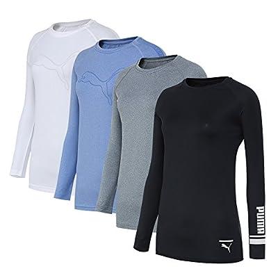 PUMA Bodywear Women's 4 Pack Cool Dry Base Layer Long Sleeve Top