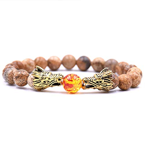 DLIAN 8 mm natuurlijke bruine stenen kralen armband voor mannen bileklik mannen sieraden draak pulseras mode dierenvorm