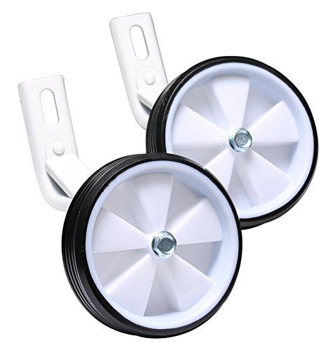 BIKESTAR Stützräder für Kinderfahrrad Universell für 12 Zoll | Nur zur Montage auf der Fahrrad Hinterradachse geeignet - stabile Stahlkonstruktion mit Gummi-Reifen | Weiß