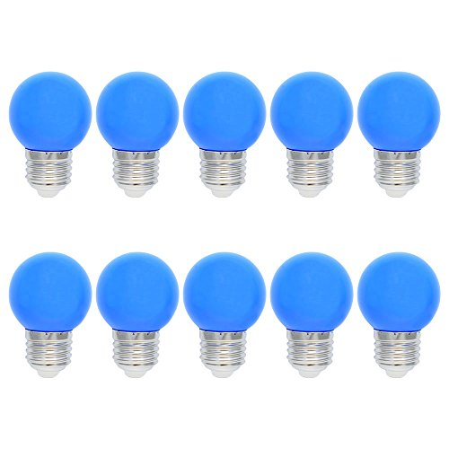 10X E27 Bombillas LED de color 1W Lámpara LED azul 100LM Lámpara de ahorro de energía Color PC Material adecuado para decoración